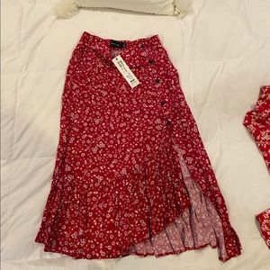 Mink Pink floral skirt with buttons